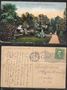 1920 Los Angeles CA Street scene Postcard