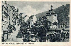 Czech Republic Weltbad Karlsbad Schlossbrunn mit Stadtturm 03.01