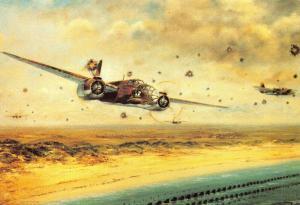 Art Postcard, WW2, RAF Douglas Bostons over Dutch Coast by Alan Preece 71N