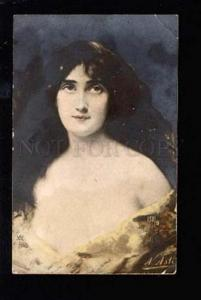 029594 Semi-NUDE Lady By Angelo ASTI Vintage PHOTO tinted PC