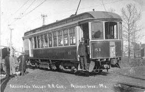 Presque Isle ME Aroostook Valley Trolley #51 RPPC Postcard