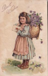 Best Wishes Young Girl With Basket Of Flowers Delivering Letter 1908