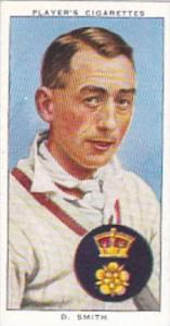 Player Cigarette Card Cricketers 1938 No 25 D Smith Derbyshire &  England