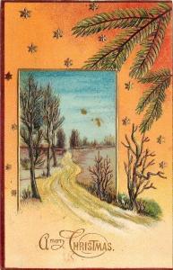 Christmas~Snowy Country Road Winds Thru Portal~Peach Back~Fir~Gold~Emb~Germany