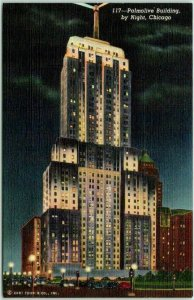 1940s CHICAGO Illinois Postcard Palmolive Building at Night Curteich Linen