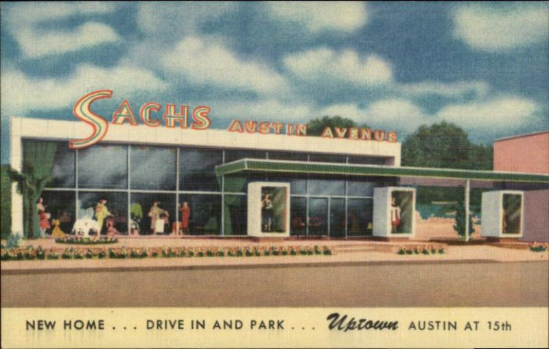 Waco TX Sachs Austin Ave NICE LINEN Storefront Postcard