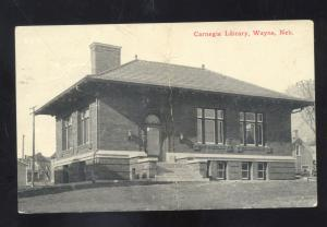WAYNE NEBRASKA CARNEGIE LIBRARY BUILDING ANTIQUE VINTAGE POSTCARD