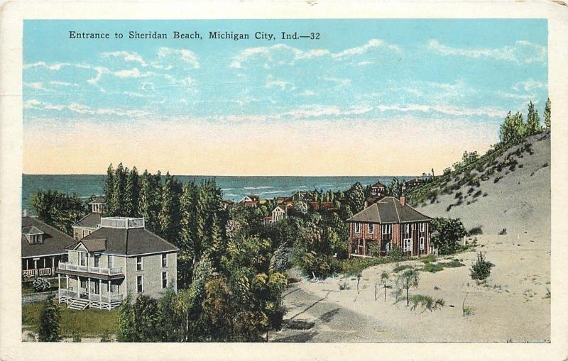 Michigan City Indiana Sheridan Beach Entrance Homes Sandy Hill 1920s Postcard