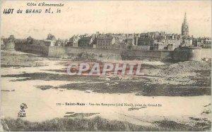 Postcard Old Saint Malo Emerald Coast View of Rempartss (North Coast) taking ...