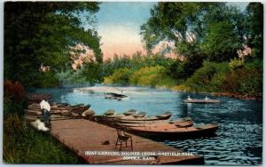 Topeka, KS Postcard Boat Landing, Soldier Creek, GARFIELD PARK Curteich 1910s