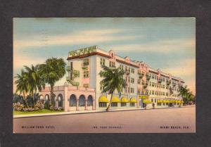 FL William Penn Hotel Miami Beach Florida Postcard Linen PC
