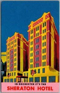 Vintage Rochester, New York Postcard SHERATON HOTEL Artist's View / Dated 1965