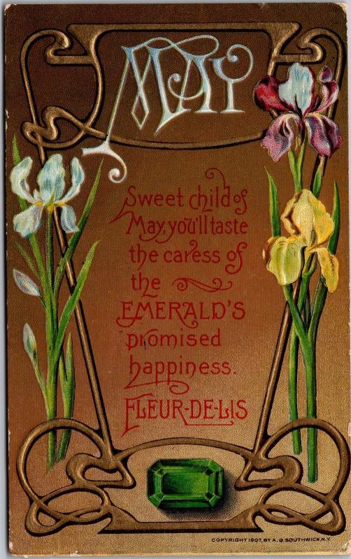 Art Nouveau Style, May Birth Stone Emerald Month Decorative Postcard J06