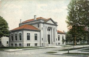Cochocton OH~Nice Brickwork on Beaux Arts Carnegie Library~New Tree Across~c1910