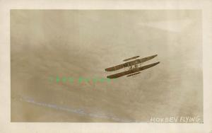 1910 Pioneer Aviation Real Photo Postcard: Arch Hoxsey Flying Overhead