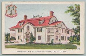 Jamestown Virginia~Jamestown Exposition~Conn. State Building~State Seal~Postcard