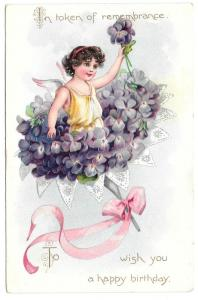 Tuck Fantasy Birthday Postcard Fairy Bouquet Violets