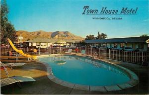 Winnemucca Nevada~Town House Motel~Kidney Pool~Slide~1960s Cars~Postcard