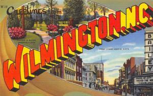 Wilmington NC~Large Letter Linen Postcard~Bailey Theatre Marquee~Casablanca~1942