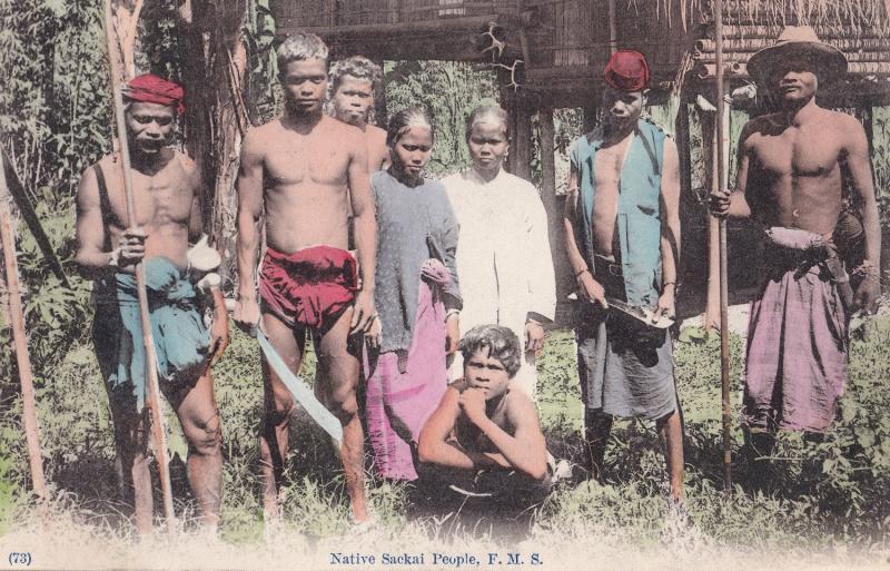 Native Sackai People Blowguns Antique Malay Singapore Postcard