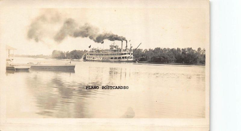STEAMER COLUMBIA PRIOR TO SINKING-EARLY 1900'S RPPC REAL PHOTO POSTCARD