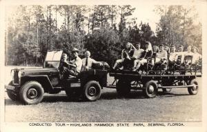 Sebring Florida~Highlands Hammock State Park Tour Jeep~People Posing~1940s RPPC