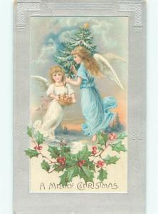 Pre-Linen BEAUTIFUL ANGELS FLYING WITH CHRISTMAS TREE AB5170