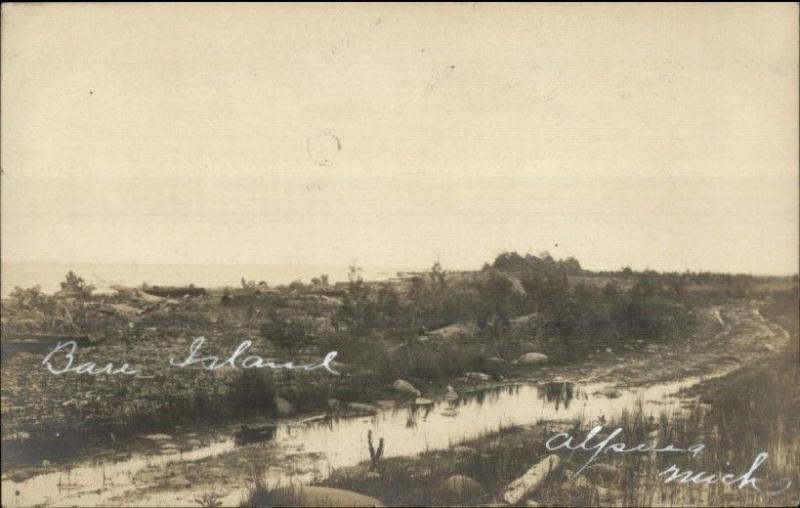 Alpena MI Bare Island c1905 Real Photo Postcard