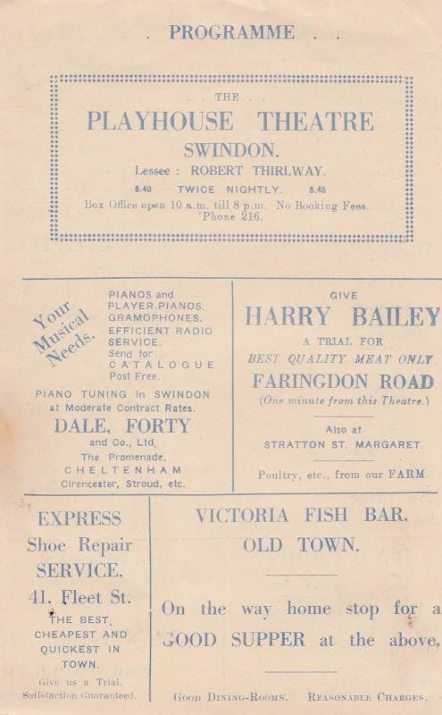 Swindon Playhouse Antique Musical Variety Show Fish & Chip Shop Ad 2x Programme