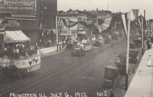 RP: Princeton , Illinois , July 4th , 1912 ; Main Street Parade #5 ;Review Stand