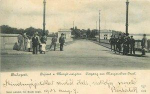 Hungary Budapest 1901 Margit Island Bridge entrance animated vintage postcard