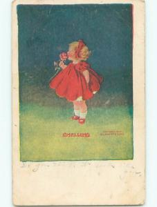 Pre-Linen SMELLING - CUTE GIRL SNIFFS PINK ROSE FLOWER J3161