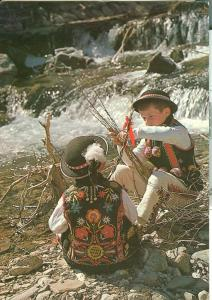 Slovakia, kids near water stream unused Postcard