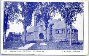 1906 University of Vermont Postcard BILLINGS LIBRARY Building Burlington VT