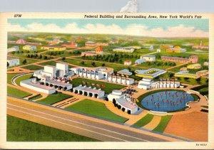 New York World's Fair 1939 The Federal Buildingand Surrounding Area Curt...