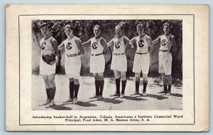 Postcard Argentina Buenos Aires Introducing Basketball Team Players c1920s T3