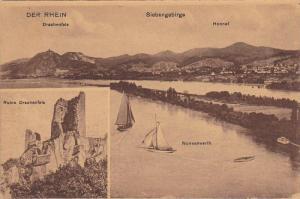 2-Views, Der Rhein, Sailboats, Ruine Drachenfels, Siebengebirge, Germany, 190...