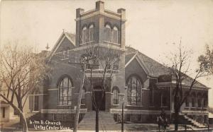 Yates Center Kansas~Methodist Episcopal Church~Man on Horseback~1910 RPPC