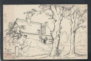 Wiltshire Postcard-Pencil Sketch,The Victoria and Albert Pub,Netherhampton T9460