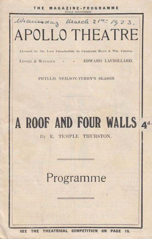 A Roof And Four Walls E Temple Thurston London Apollo Antique Theatre Programme