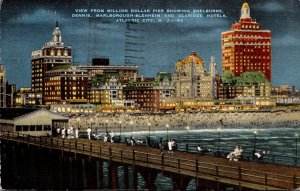 New Jersey Atlantic City View From Million Dollar Pier At Night 1945
