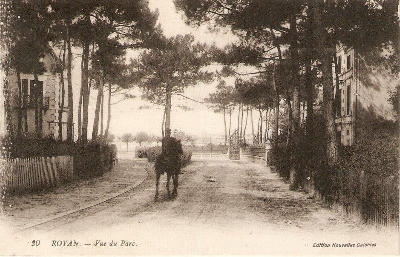 Royan. Vue du Pard. Man on horse Old vintage French postcard