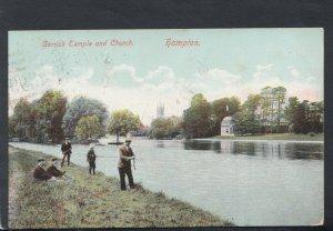 Middlesex Postcard - Garrick Temple and Church, Hampton - Men Fishing T6728