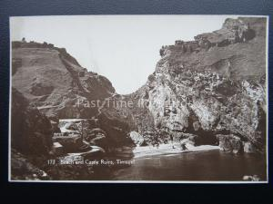 Cornwall TINTAGEL Castle Ruin & Beach Old RP Postcard by F.A.Maycock of Polzeath