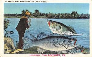 Lookout Pennsylvania Greetings Fishing Exaggeration Postcard JA4742279