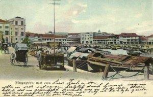 straits settlements, SINGAPORE, Boat Quay, Rickshaw (1905) Postcard