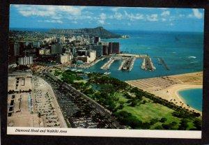 HI Yacht Harbor Aerial View Waikiki Honolulu Hawaii Diamond Head Postcard