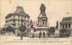Old Postcard Belfort Monument Three Sleges (Work Barthold) Elevate by nationa...