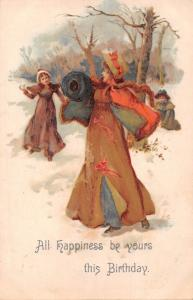 ALL HAPPINESS BE YOURS~WALTER WHEELER #208 BIRTHDAY GREETING POSTCARD c1910s