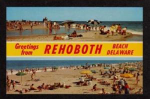 DE Greetings from REHOBOTH Beach DELAWARE Postcard PC